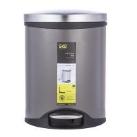 宜可(EKO)静音脚踏环境桶垃圾桶不锈钢垃圾桶圆形桶家居 防指纹 海贝6L静音脚踏环境桶9218MP-TG-6L 银色 6L  不锈钢(1Cr17)/塑料内桶(PE)23.5×23×36.5