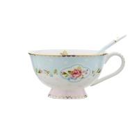 其唯美品 雨花裙骨瓷镀金咖啡杯碟套装 骨瓷杯 咖啡杯  下午茶茶具 粉蓝 220ml